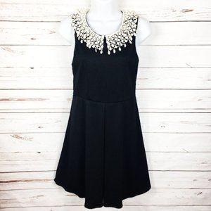 Free People Black Ivory Tassel Collar Dress